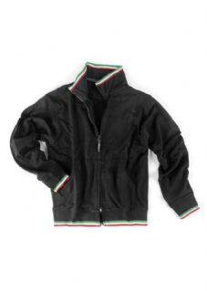 Felpa collo alto, full zip con bordini tricolore